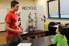 Colton explains building the tower.